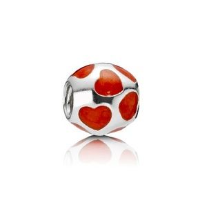 NEW Pandora RETIRED Love You Red Enamel Hearts